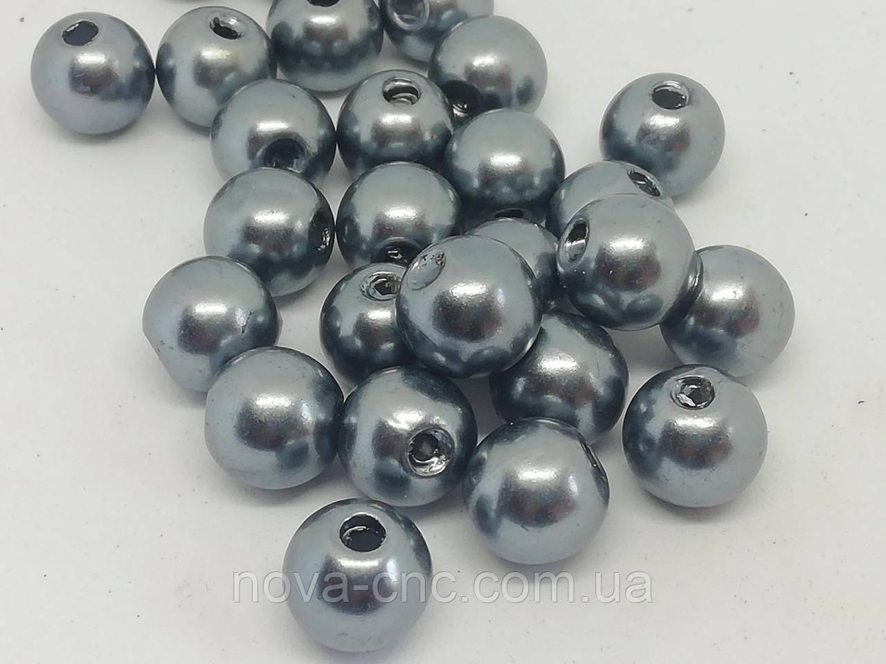 """Бусины пластик """"Шар гладкий"""" серый 8 мм 500 грамм"""