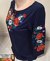 Вышиванка блузка рукав три четверти мак волошка M-L, XL-2XL, 3XL-4XL