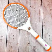 Электрическая мухобойка аккумуляторная 2в1 с фонариком 4+1 LED Mosquito Exterminator Racket Реальные фото