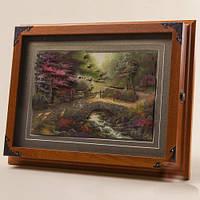 """Ключница-картина 3D """"Лесной ручей"""", 35x27 см."""