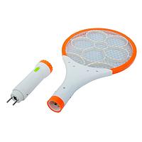 Электрическая мухобойка-ракетка на аккумуляторе С фонариком и подсветкой Оранжевая Настоящие фото