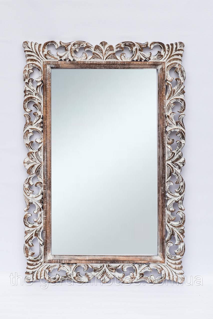 Зеркало в резной раме Ajur 100х70 см, коричневое