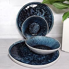 Керамічні тарілки синя посуд з плямами для кафе ресторанів і вдома 27 см
