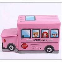 Пуф для зберігання іграшок Автобус 2968 рожевий