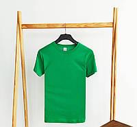 Футболка женская базовая зеленого цвета. Женская базовая футболка без принта зеленая. , фото 1