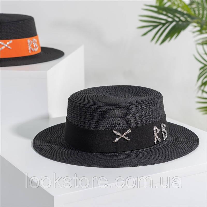 Женская летняя шляпа канотье черная с черной лентой RB