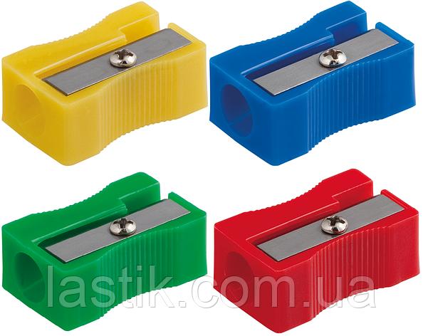 Точилка прямокутна BLOCK 1 отв пластик корпус комплект 4 шт асорті блістер, фото 2