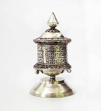 Молитвенный барабан настольный в серебряном цвете