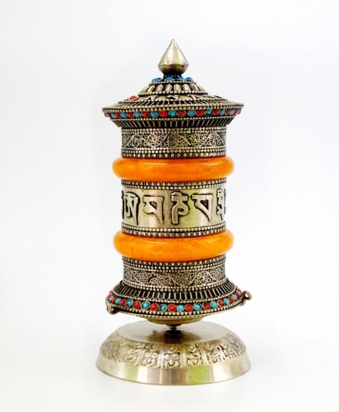 Молитовний барабан настільний в срібному кольорі №2