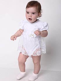 """Белое боди платье """"Полинка"""" для новорожденных девочек"""