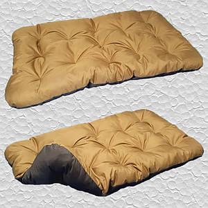 Лежак для собак мелких, средних и крупных пород, двусторонний. Спальное место для собаки. Койот + коричневый