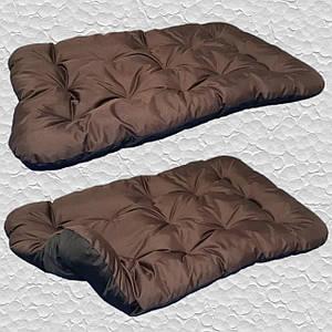 Лежак для собак мелких, средних и крупных пород, двусторонний. Спальное место для собаки. Коричневый + Черный