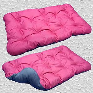 Лежак для собак мелких, средних и крупных пород, двусторонний. Спальное место для собаки. Цвет Розовый + Cерый