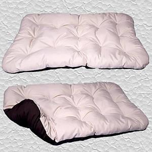 Лежак для собак мелких, средних и крупных пород, двусторонний. Спальное место для собаки. Бежевый + Коричневый