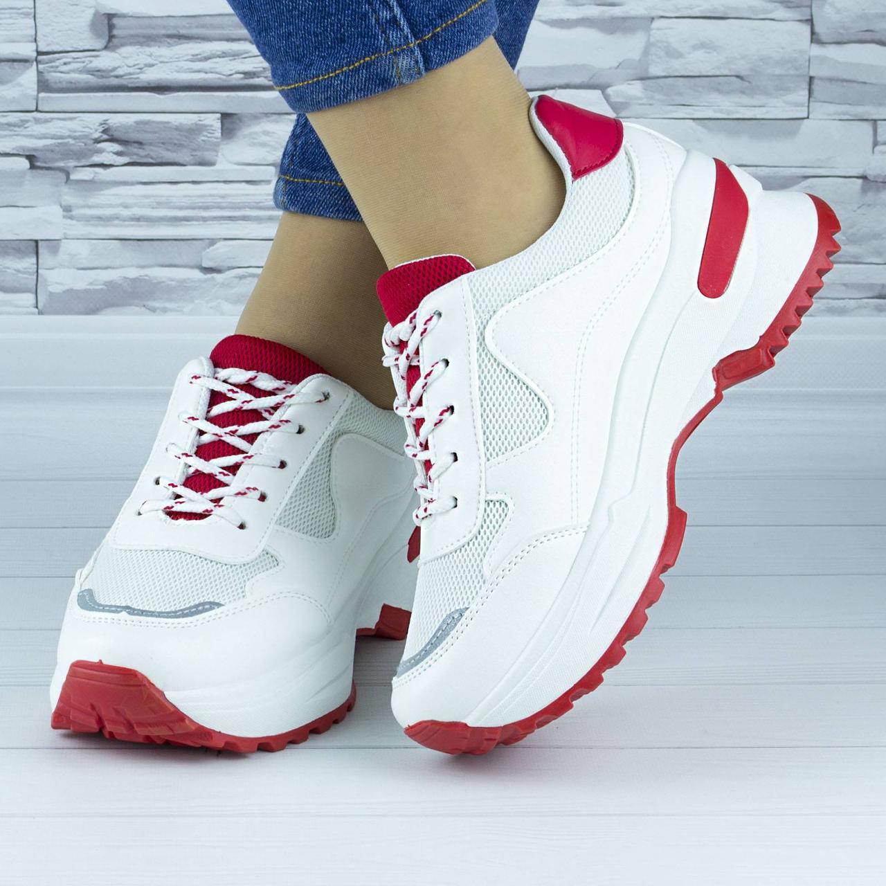 Кросівки жіночі білі з червоним демісезонні еко шкіра (b-669)