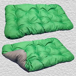 Лежак для собак мелких, средних и крупных пород, двусторонний. Спальное место для собаки. Цвет Зеленый + Серый