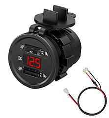 Автомобильное врезное зарядное 2хUSB (12-24В, 4.2А) + ВОЛЬТМЕТР / Адаптер питания - розетка USB