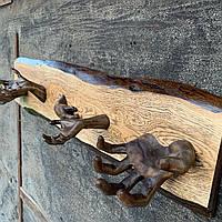 Дизайнерская вешалка на стену для декора интерьера и одежды (крепкая, выдерживает тяж.)