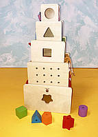 Подарок для детей деревянная игрушка кубики сортер тематический игровой набор