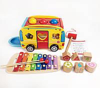Подарок для детей деревянная игрушка автобус сортер и ксилофон