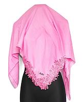 Бавовняна хустка Еміне мереживо 100*100 см рожевий