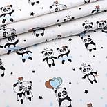 """Лоскут фланели """"Панды с голубыми шариками"""", размер 37*120 см, фото 2"""