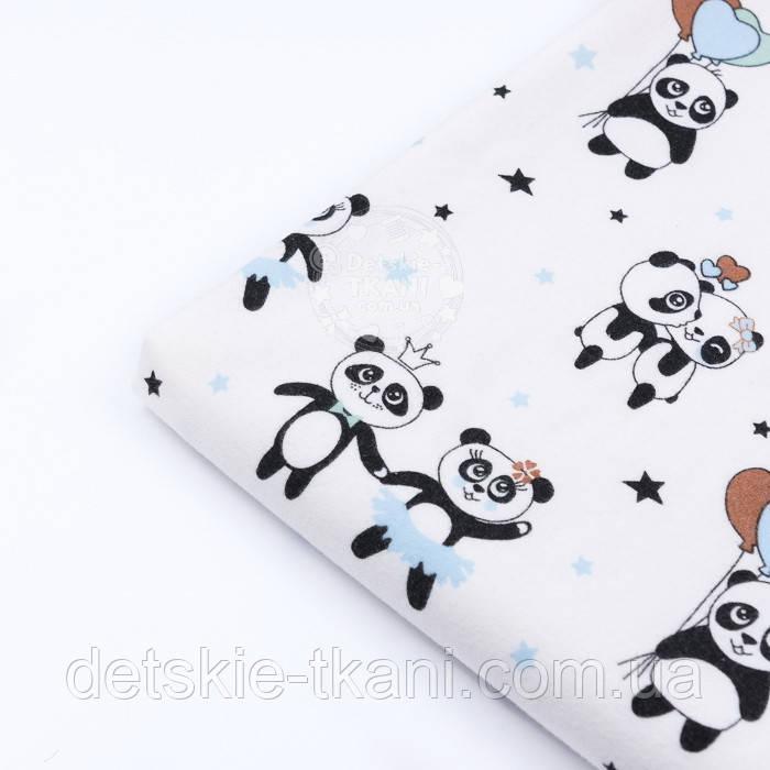 """Лоскут фланели """"Панды с голубыми шариками"""", размер 37*120 см"""
