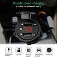 Автомобильное врезное зарядное 2хUSB (12-24В, 4.2А) + ВОЛЬТМЕТР / Адаптер питания - розетка USB, фото 3