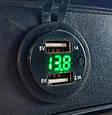Автомобильное врезное зарядное 2хUSB (12-24В, 4.2А) + ВОЛЬТМЕТР / Адаптер питания - розетка USB, фото 6