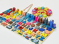 Детская развивающая деревянная игрушка геометрика рыбалка часы монтесори подарок для мальчика и девочки