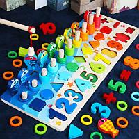 Детская развивающая деревянная игрушка геометрика рыбалка Монтессори подарок для ребенка