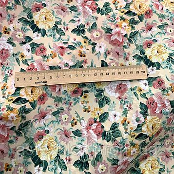 """Костюмная ткань  """"ПиАшПи"""" принт (на бежевом фоне мелкие цветы)"""