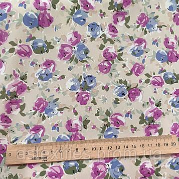 """Костюмная ткань  """"ПиАшПи"""" принт (средние цветы на бежевом фоне)"""