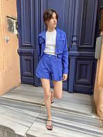 Жіночий стильний джинсовий костюм коротка куртка і шорти, фото 1