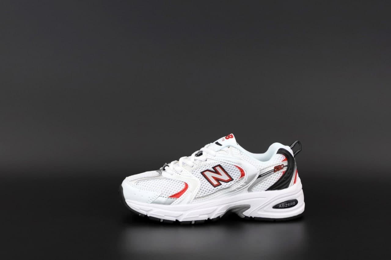 Чоловічі кросівки New Balance 530 (біло-чорне з червоним) К12574 якісні стильні кроси
