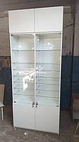 Вітрина з антресоллю і скляними полицями Модель V576 біла, фото 1