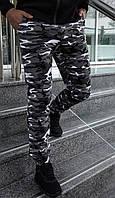 Камуфляжные штаны мужские спортивные трикотажные, с манжетом на резинке