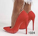 Туфлі жіночі класичні  червоні, фото 4