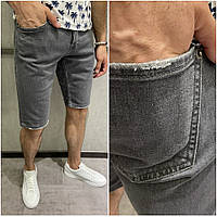Мужские джинсовые шорты темно серого цвета (серые) однотонные Турция