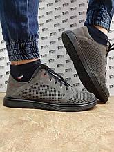 Ортопедичні літні кросівки,кеди шкіряні темно-сірі Detta