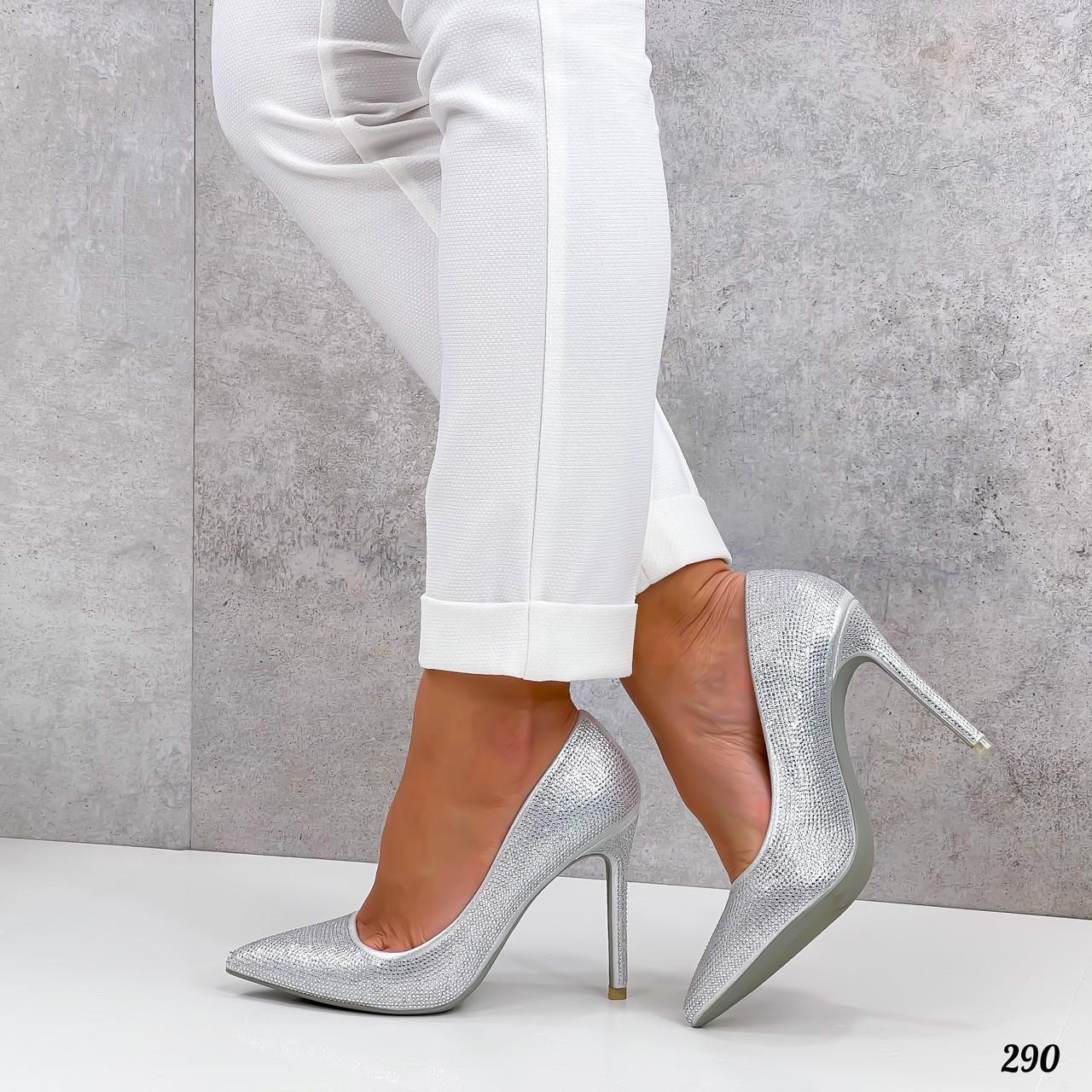 ТОЛЬКО 36 р! Туфли женские белые/ серебро со стразами каблук 10 см