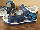 Кожаные ортопедические босоножки для мальчиков ТомМ, детские синие сандалии с каблуком Томаса, фото 7