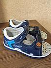 Кожаные ортопедические босоножки для мальчиков ТомМ, детские синие сандалии с каблуком Томаса, фото 9