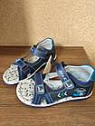Кожаные ортопедические босоножки для мальчиков ТомМ, детские синие сандалии с каблуком Томаса, фото 5