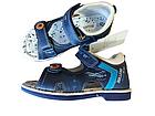 Кожаные ортопедические босоножки для мальчиков ТомМ, детские синие сандалии с каблуком Томаса, фото 2