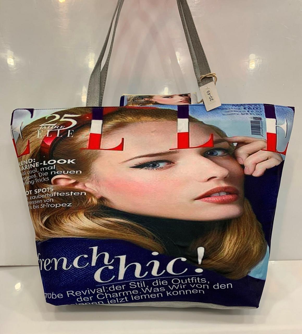 Пляжна сумка жіноча тканинна річна з малюнком Обкладинка Журналу 20-49