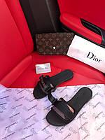 Женские шлепки Christan Dior Black / Кристиан Диор Черные