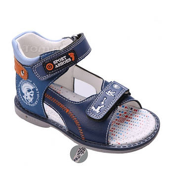 Кожаные ортопедические босоножки для мальчиков ТомМ, детские синие сандалии с каблуком Томаса