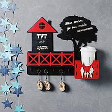 Деревянная ключница настенная Домик черно-красный 40*34 см