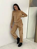 Жіночий стильний велюровий спортивний костюм з капюшоном, фото 1